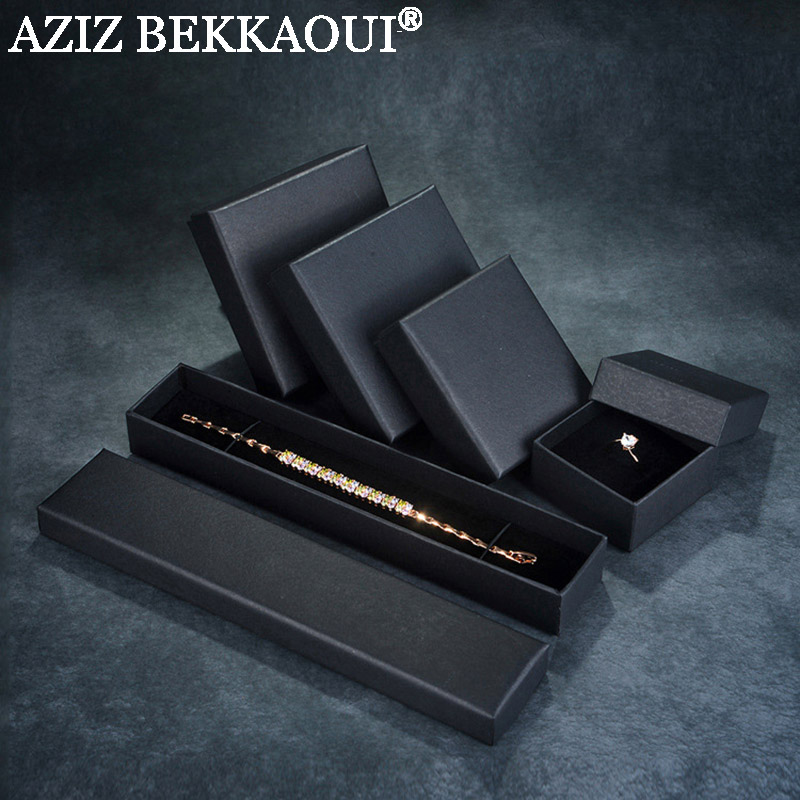 Fashion JEWELRY PACKING BOXES For Bracelet Earring Ring Necklace Cool Black Gift Box  Jewelry Boxes Fashion Packaging