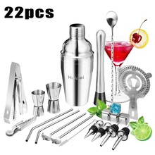 22Pcs/Set Stainless Steel Cocktail Shaker Set Drinks Strainer Bottle Opener Maker Mixer Spoon Measure Cup Bar Beginner Tool Kit