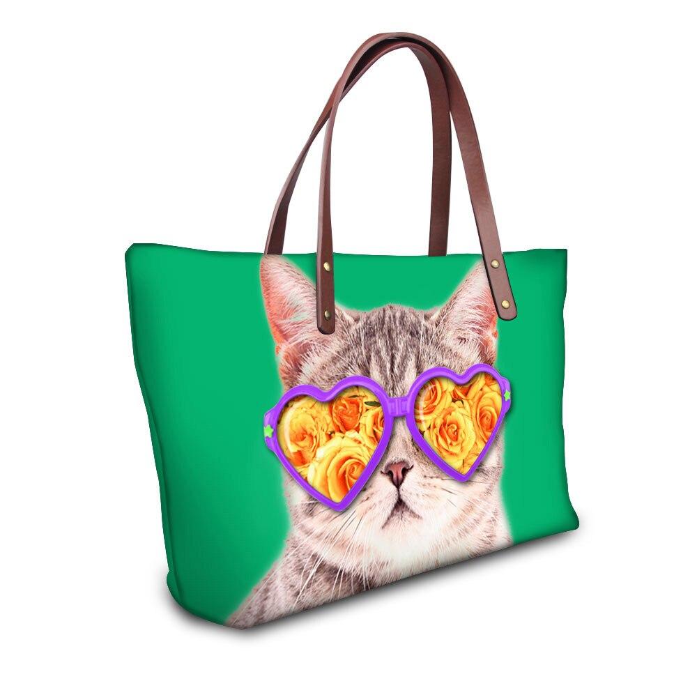 Sac à main femme à la mode sacs à bandoulière de haute qualité drôle Kitty chat Top poignée sacs fourre-tout grand décontracté-sac