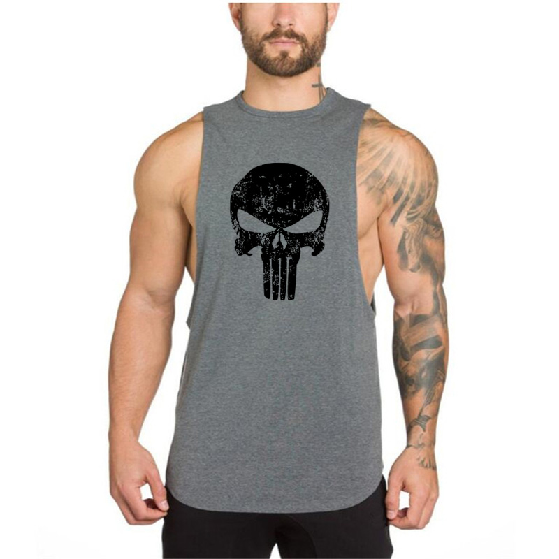 Men   Tank     Tops   Skulls Bodybuilding   tank     top   gyms Fitness Men Vest Brand punisher Clothing Sleeveless Shirts Workout O-Neck   tops