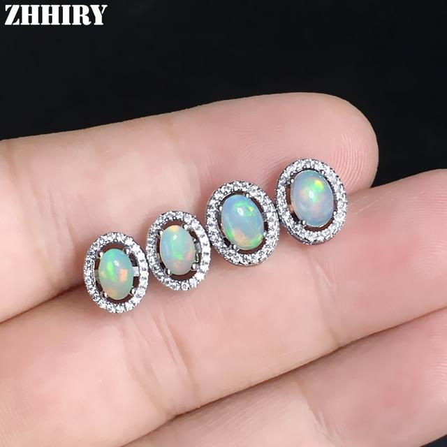ZHHIRY Natural Fire Opal Earrings Genuine Gem Stone Solid 925 Sterling Silver Real Earrings Women Fine Jewelry