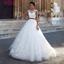 Backless Arab Ball Gown Wedding Dresses With Color Sash Sheer neck Sleeveless Plus Size Charming Princess