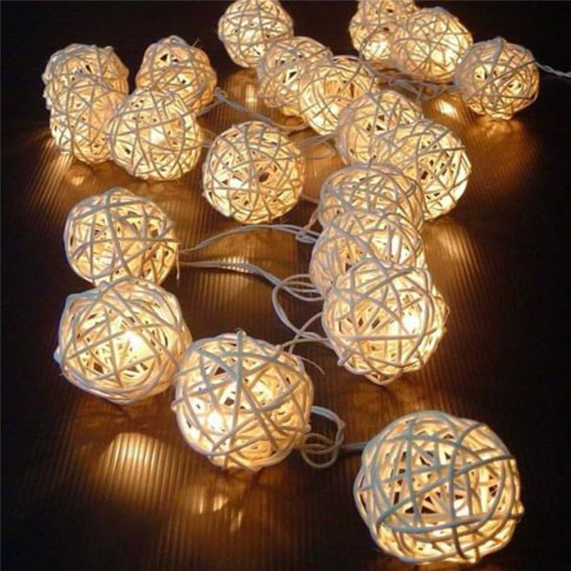 2017 5M 20 LED Warm White Rattan Ball LED String Christmas Wedding Party Fairy Lights For Home Garden Decor Lamp Drop Shipping window curtain led string white lights 3m x3m for xmas wedding party decor 220v eu plug party decorations 304 led