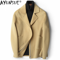 AYUNSUE Autumn Winter Warm 100% Wool Coat Men Fashion Cashmere Coats for Men Short Jacket Overcoat Roupas Abrigo Hombre ZL391