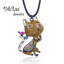 D&Rui Jewelry Woman Necklace Animal Cat Bird Animals Pendant Strange Thing Alloy Metal Trendy Long Rope Chain Necklaces Children