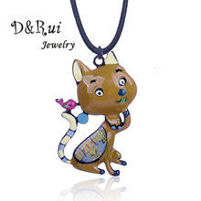 D&Rui Jewelry Woman Necklace Animal Cat Bird Animals Pendant Strange Thing Alloy Metal Trendy Long Rope Chain Necklaces Children(China)
