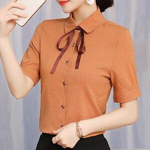 Image 3 - 2019 nuevo elegante verano de las mujeres camisa de moda corto formal manga rayas finas blusa de las señoras de la oficina trabajo tops