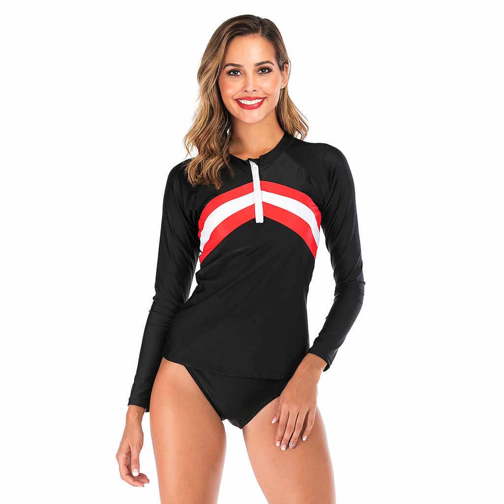 2019 Baru Lengan Panjang Ruam Penjaga One Piece Swimsuit Wanita Menyelam Surf Baju Renang UPF50 + Ritsleting Depan UV Patchwork K Berlaku # D