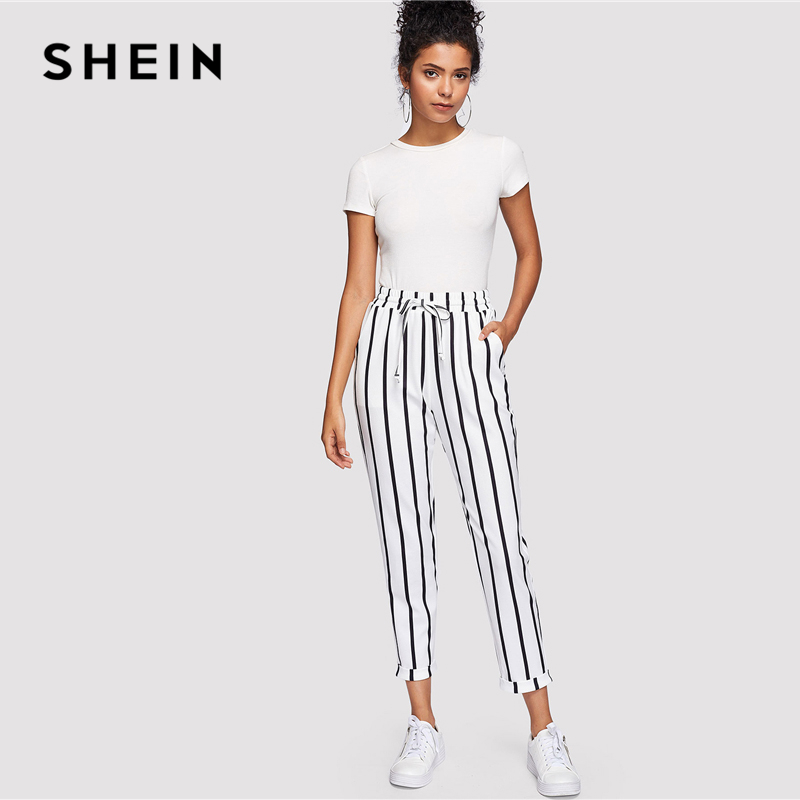 96a66bbd10 SHEIN Black and White Casual Drawstring Waist Striped High Waist Tapered  Carrot Pants Summer Women Going Out Trousers-in Pants & Capris from Women's  ...