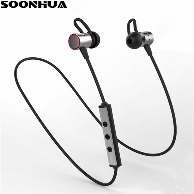 SOONHUA S60 Wireless Magnetic Headphones Bluetooth 4.1 Sports Running Headset Sweatproof Earbuds Handsfree Hook Earphones