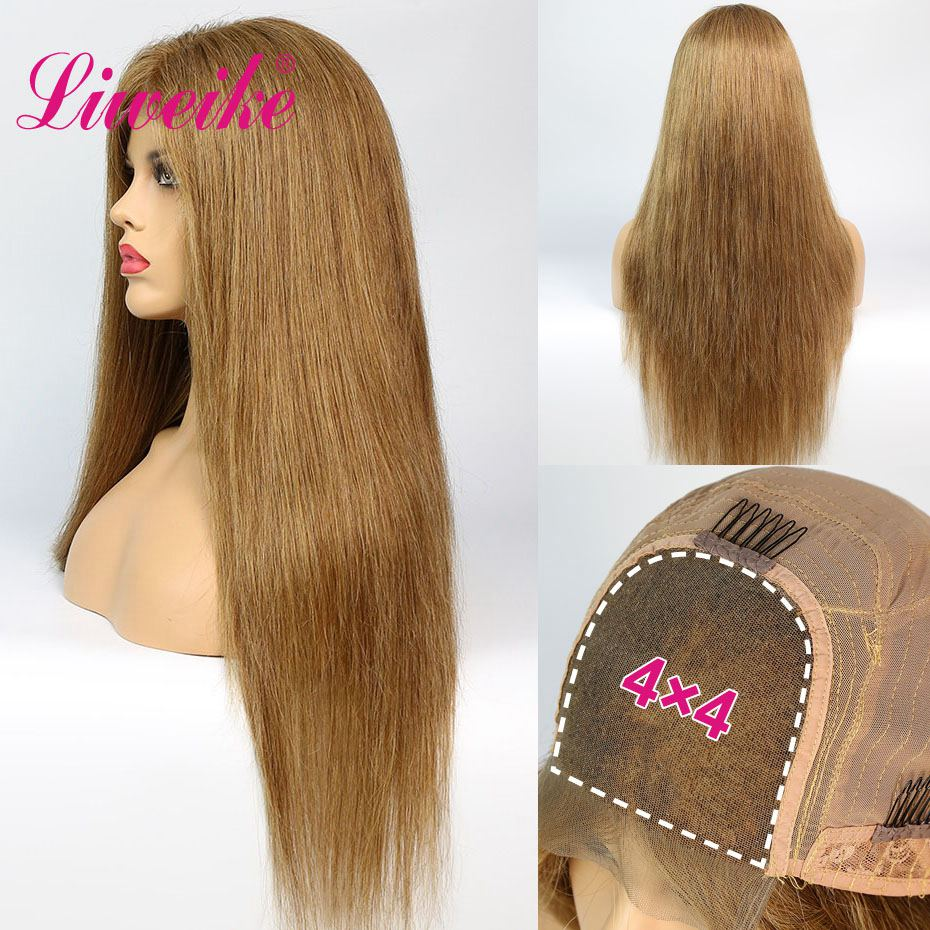 Liweike Straight #8 Color 4*4 Closure Lace Wig 100% Remy Human Hair 200% Density 18 20 22 Inch Glueless Pre Plucked Sewing Wigs