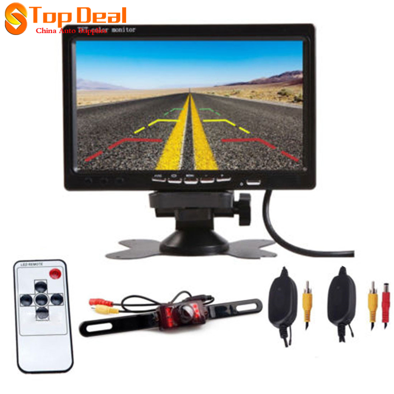 Wireless HD 7 inch LCD Foldable Car Monitor Rear View Camera Backup Parking Reverse Camera IR Night Vision 7 inch tft lcd color auto car monitor 2 video input car rear view parking monitor wireless 10 ir car rear view reverse camera