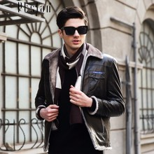 Ptslan 2016 Men's Genuine Leather Jacket Real Lambskin Sport Coat