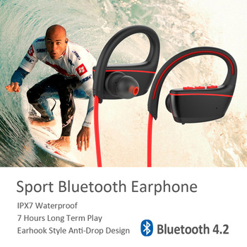 New IPX7 Waterproof Bluetooth 4.2 Earphone Wireless Headphone for Iphones Androi IOS with Mic for Sports Swimming Diving Outdoor