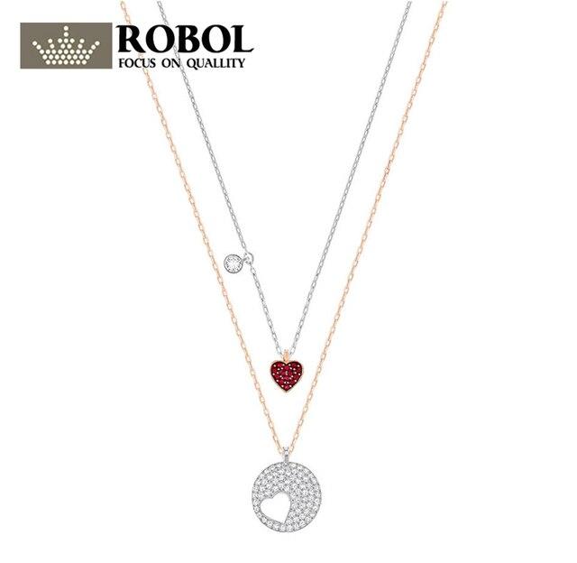 ROBOL оригинальный SWA 1:1 ювелирные изделия Леди Кристалл пожелания два слоя ожерелье ювелирные изделия 5255351 копия ювелирные изделия женщина ож...
