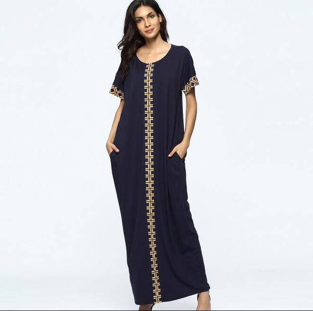 426358b1d55f1 العباءة مسلم اللباس القطن فساتين للنساء التركي المسلم اللباس للبيع قفطان  رداء كحلي الذهبي الأصفر