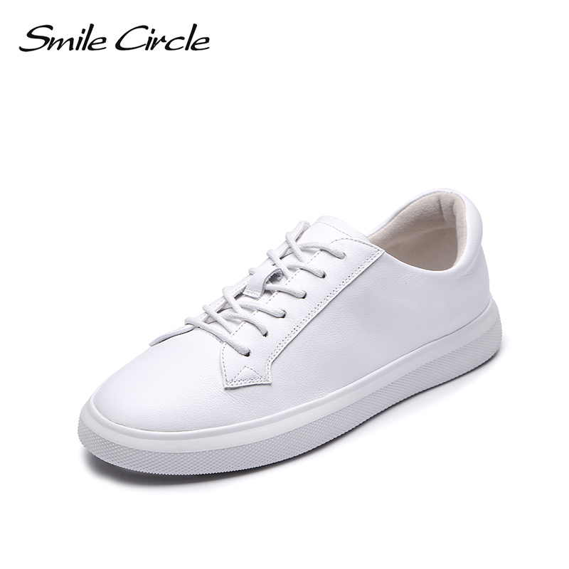 Smile Circle Genuine Leather Sneakers Women Fashion Flat Platform Shoes Women Lace-up casual shoes Black White sneakers Autumn smile circle spring autumn sneakers women lace up flat shoes for women fashion rhinestones casual platform shoes flat shoes girl