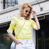 Veri Gude Women Plaid Shirts Cotton Blouse White Collar With Foal Decoration