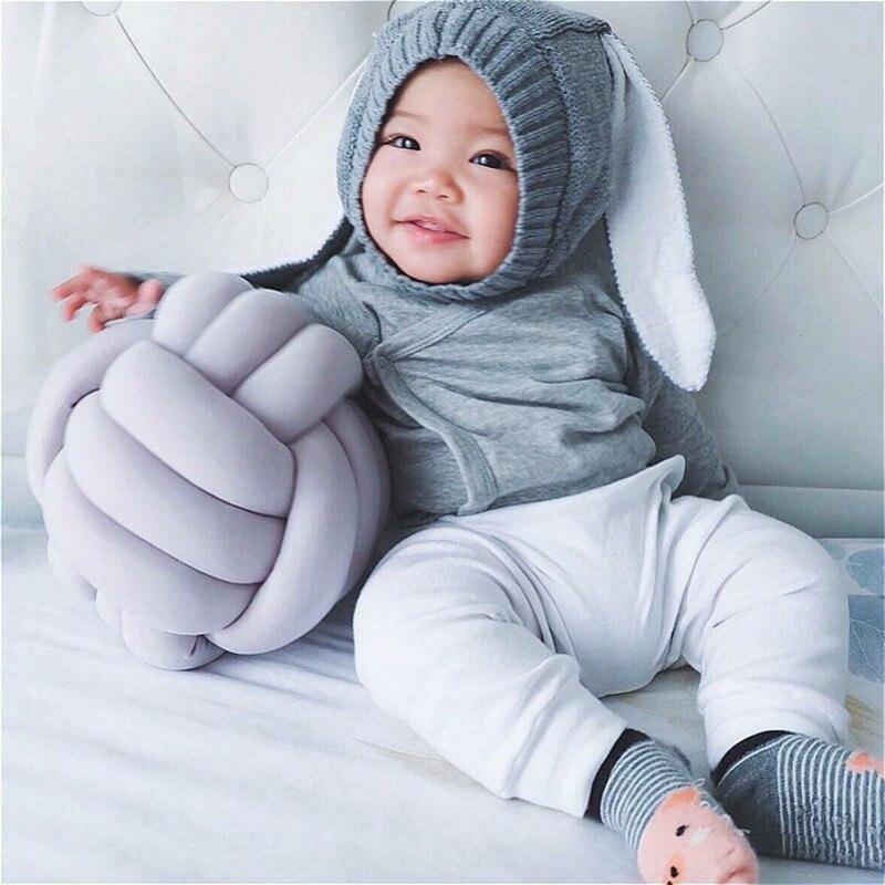 Denmark ins explosion Nordic Knot Cushion 100% Cotton Knot Ball Pillow Baby Sleep Dolls Plush Toy For Kids Sofa Cushion