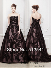 Elegant Lace Evening Dresses 2014 NEW A Line Strapless Handmade Applique Satin Floor Length yk8R116