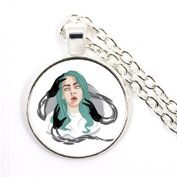 Popular Young Singer Billie Eilish Necklace Art Picture Hip-hop Music 25mm Glass Cabochon Pendant Jewelry For Music Fans Gift 1