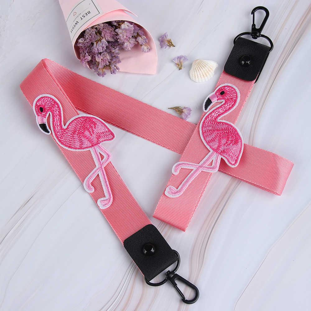 Moda Fita Rosa Flamingo Chaveiro Lanyard Chaveiro Mulheres Pescoço Pendurado Saco Caso de Telefone Bolsa Da Bolsa Titular Pingente Anel Chave