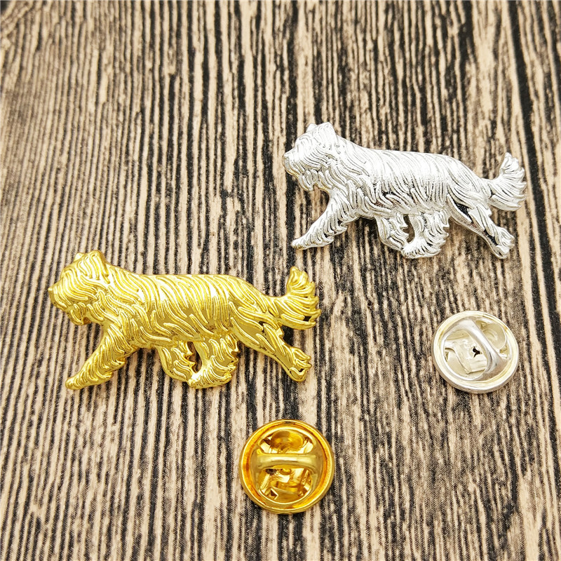 LPHZQH hot wholesale cute cartoon Briard dog Broches Butterfly Clasp Collar Pin Jewelery Clothing Accessories Men's Gift