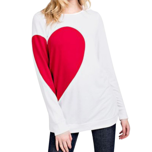a799dcae 2018 Women Valentine's Day Gift Heart Letter Printed Long SLeeve Oversized  Tops Round Neck Blouse Women Fall hot
