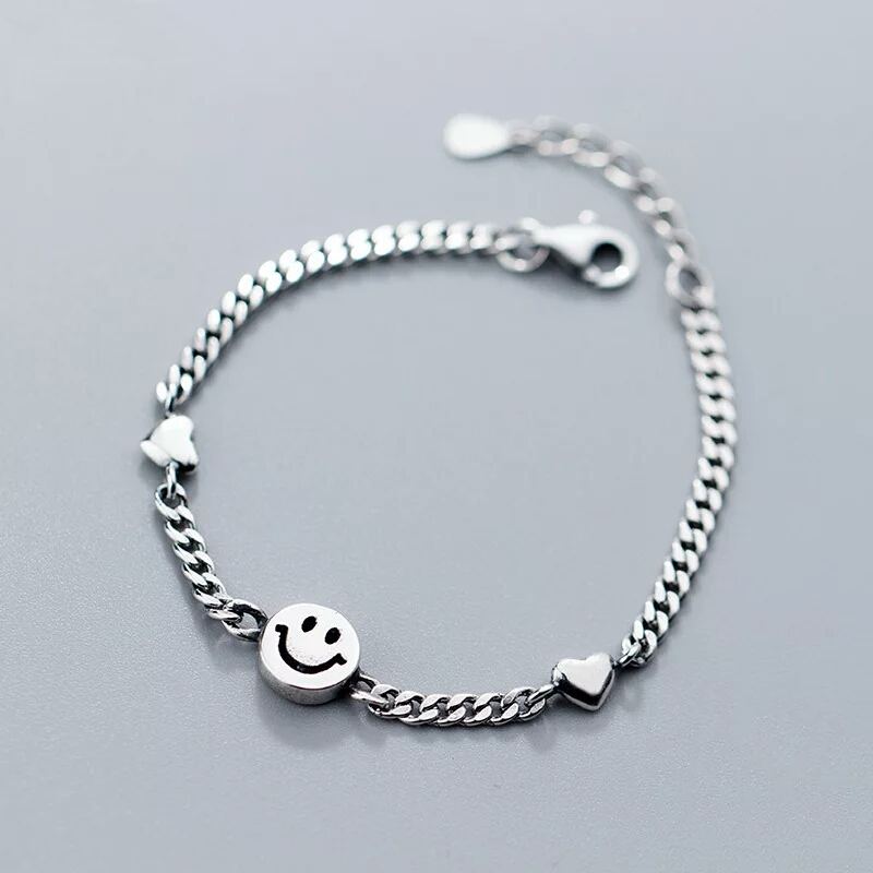 100% 925 Solid Real Sterling Thai Silver Vintage Smiley Face Bracelet <font><b>18</b></font>-21CM For <font><b>Teen</b></font> <font><b>Girl</b></font> Lady Women Jewelry S2803 image