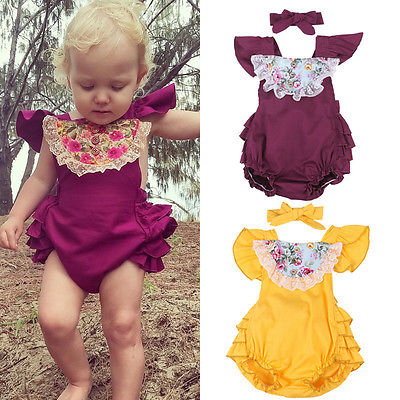 Lovely Toddler Infant Baby Girl Lace Ruffles Halter Romper Jumpsuit Playsuit Outfit Floral Summer Girls Clothes