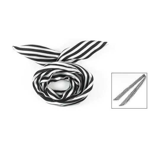 Caliente Blanco/negro de las mujeres de impresión de rayas de tela recubierto de alambre de pelo envoltura bufanda diadema