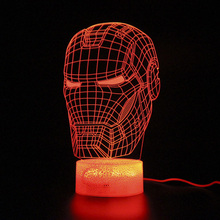 Avengers Hero Kids 3d Table Lamp Remote Control Led Night Light Illusion USB Touch Sensitive Light Iron man Lamp недорого