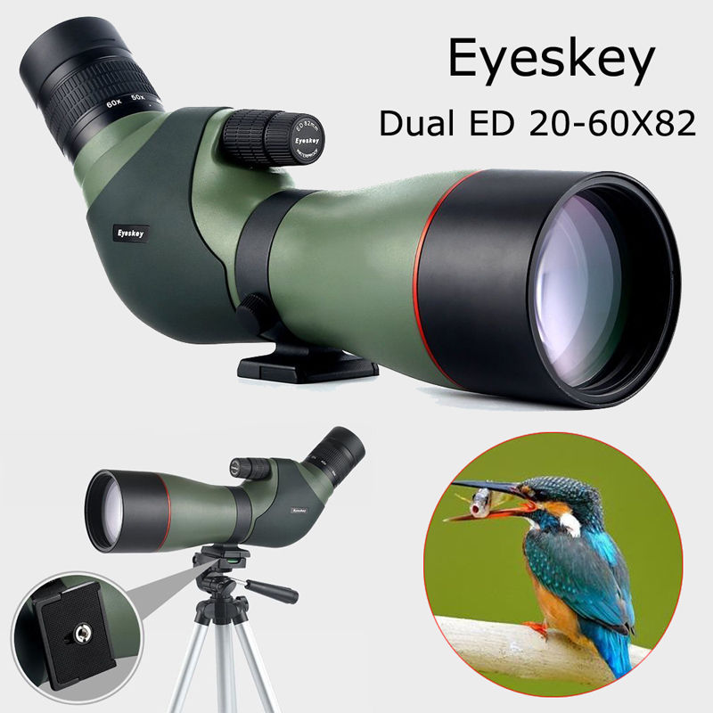 Free shipping!Eyeskey HD 20-60x82mm ED 8IP Zoom Spotting Monocular Telescope for Bird Watching eyeskey 15 45x60 waterproof zoom professional spotting scopes hd optical monocular hunting for birding watching free shipping