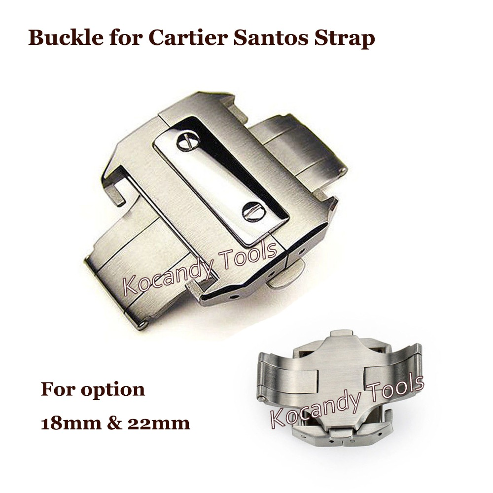 Stainless Steel Butterfly Deployment Clasp Buckle For Cartier Santos Strap Extra Large Band Strap 18mm 22mm