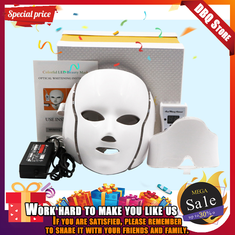 7 Colors LED Facial Mask With Neck Skin Rejuvenation Face Care Treatment Beauty Anti Acne Therapy Whitening Instrument Newest