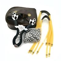 スリングショット+ 100ピース8ミリメートル鋼球+ 2ゴムバンド+パチンコボールポーチバッグスリングショットセットパワフル狩猟弓狩猟スリングショッ