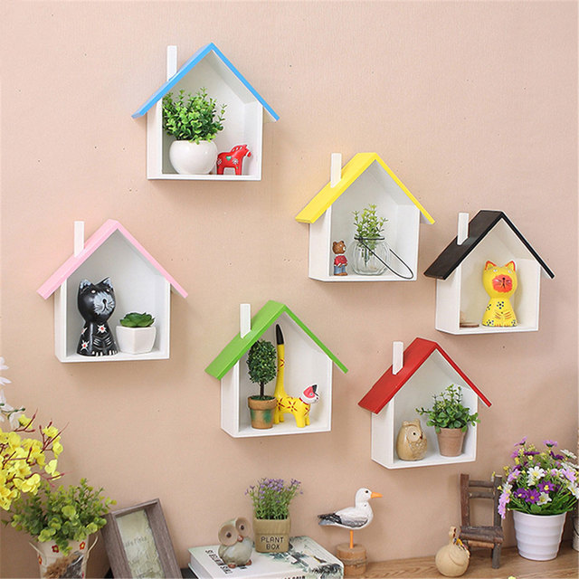 Home Decor Wall Hanging Shelf American Style Pastoral Wood Decorative Shelves For Living Room Children Bedroom