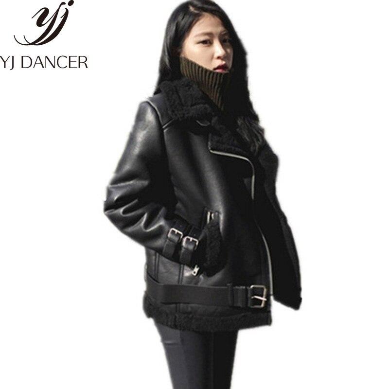 New 2018 Women Lamb fur Bomber Real leather jacket shammy fluff Coat Oversized Moto & Biker Genuine Thick Leather jacket  CSS348 leather jacket