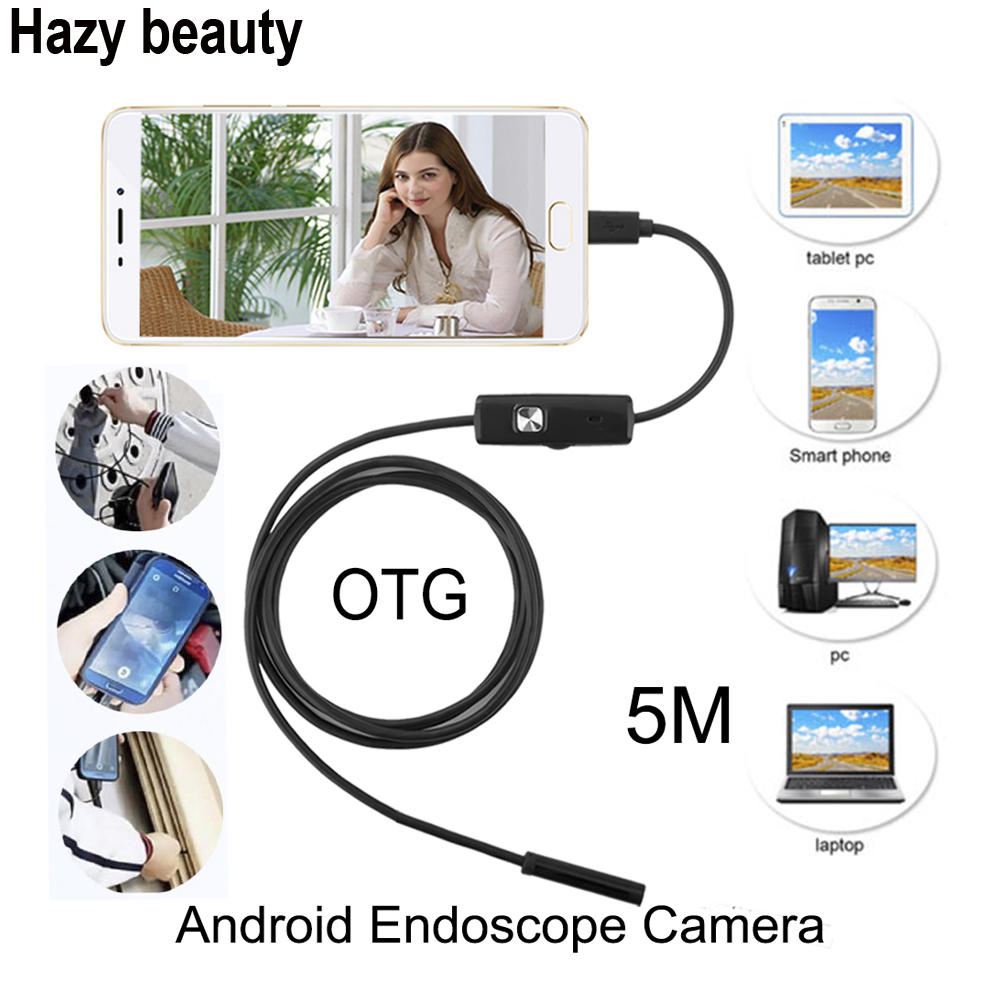 Hazy beauty 5.5mm Len 5M Android USB Endoscope Camera Flexible Snake USB Pipe Inspection Android Phone OTG USB Borescope Camera hazy beauty usb android endoscope 8mm 5m length endoscope 2m hd inspection snake camera waterproof snake pipe borescope cam