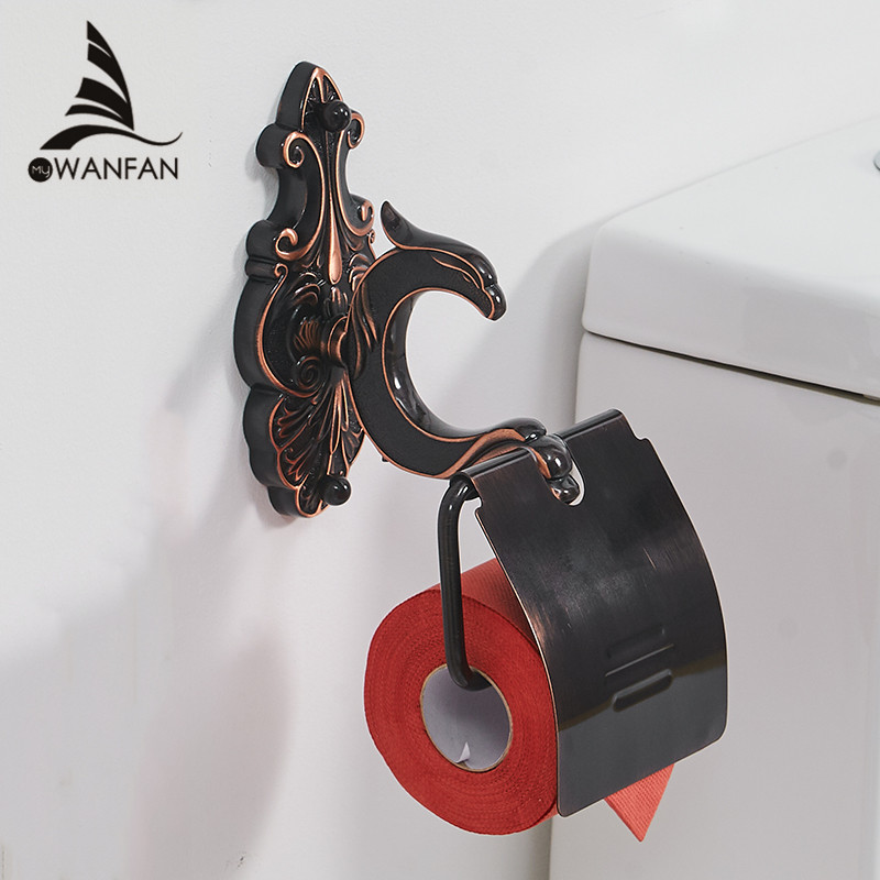 Paper Holders Toilet Wall Mounted Brass Roll Tissue Holder For Paper Towel Bathroom Accessories Black WC Paper Shelf WF-88808 gold color bathroom toliet tissue paper towel roll holder chinese luxury style 3371901