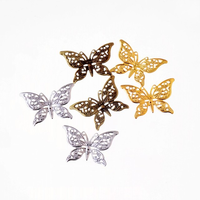 free shipping 30pcs butterfly filigree wraps connectors metal crafts