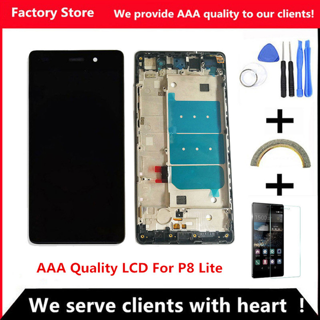 QYQYJOY AAA جودة LCD + الإطار لهواوي P8 لايت شاشة Lcd استبدال الشاشة ل ALE L04 TL00 CL00 digizpeter الجمعية