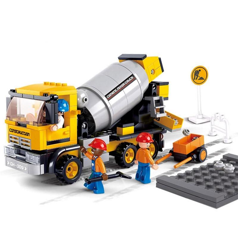 296pcs city car building blocks assembled bricks childrens educational kids toys cement truck model figure engineering series