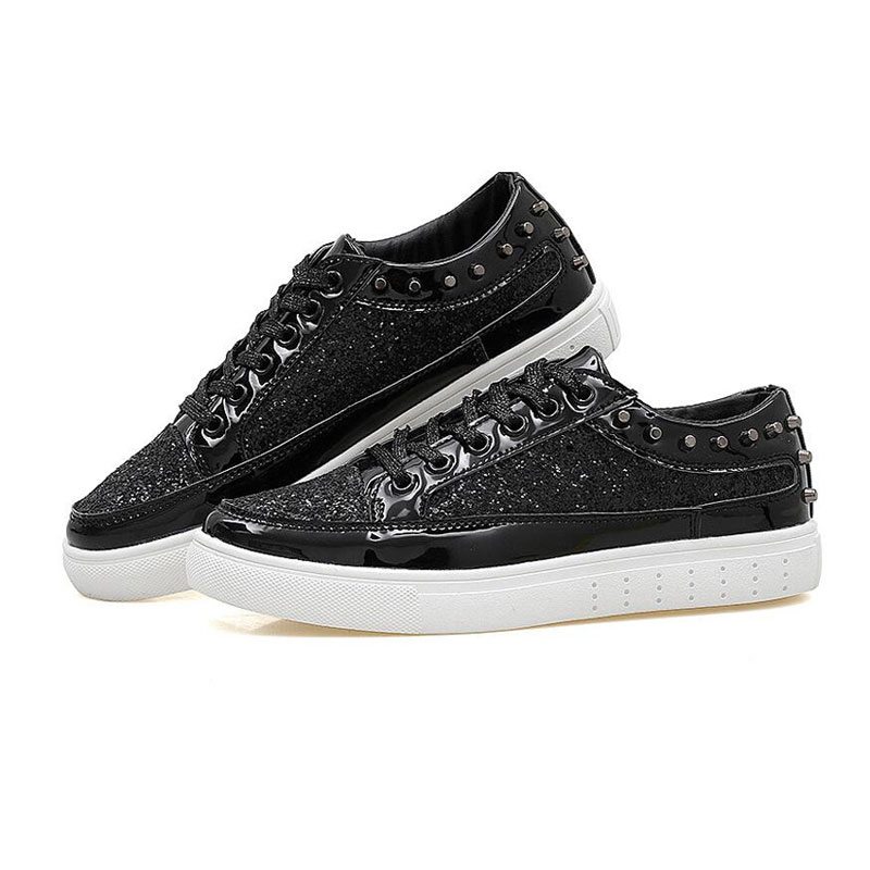 a1e97730d9 US $24.99 50% OFF|Tangnest NEW 2018 Glitter Men Sneakers Fashion Bling Lace  Up Casual Shoes For Couples Men's Vulcanize Shoes Gold Sliver XMR2860-in ...