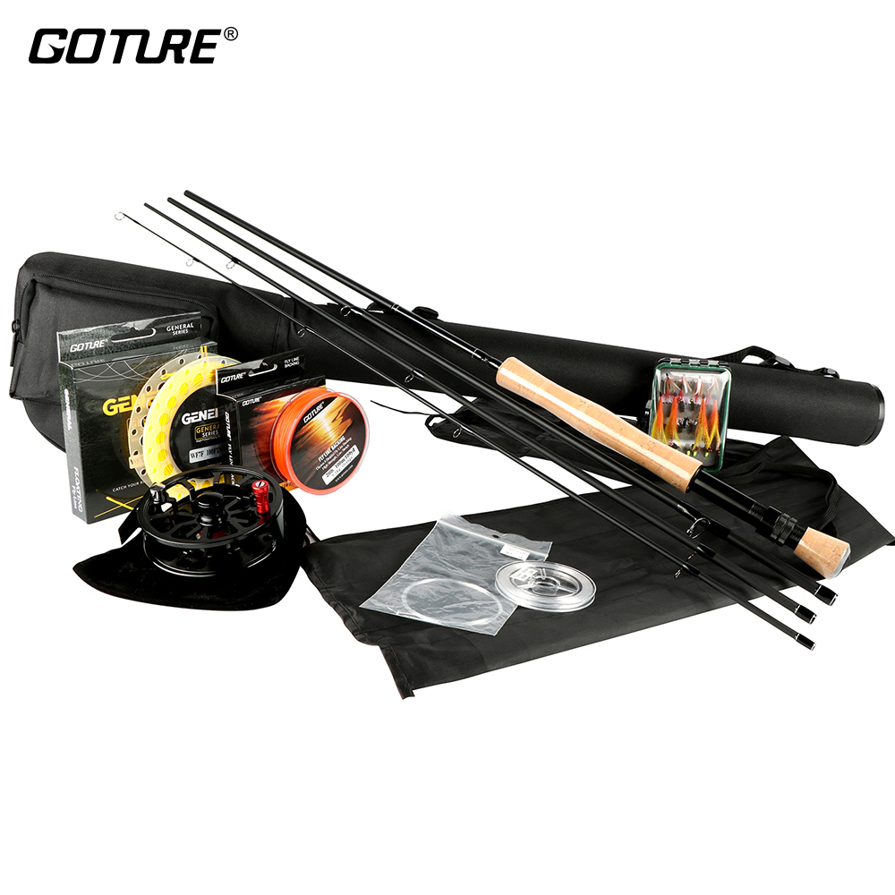 Goture Rod Combos 5/6 7/8 Fly Fishing Rod Reel Fishing Lure 100FT Weight Forward Main Fly Line Backing/Leader Line +Tippet free shipping 5 6 4 segments sections fly fishing rod full metal reel water proof rod bag lines box lure set kit