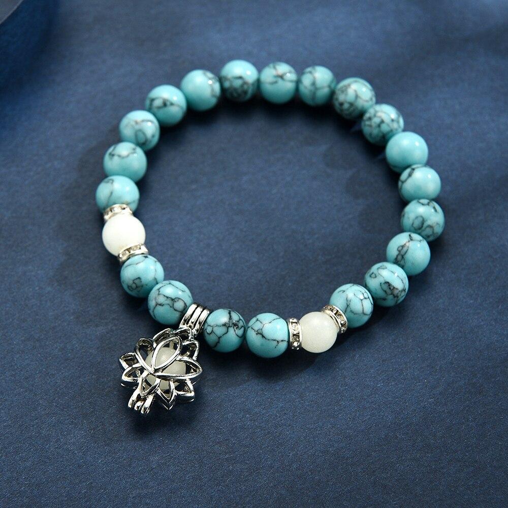 Natural Stones Luminous Glowing In The Dark Lotus Flower Shaped Charm Bracelet For Women Yoga Prayer Buddhism Jewelry 3