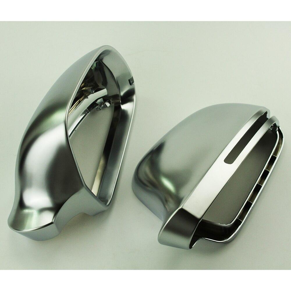 For Audi A6L 2009 2011 A4L 2009 2012 A5 2008 2009 Q3 B8 Matte Chrome Side Mirror Covers Cap Silver