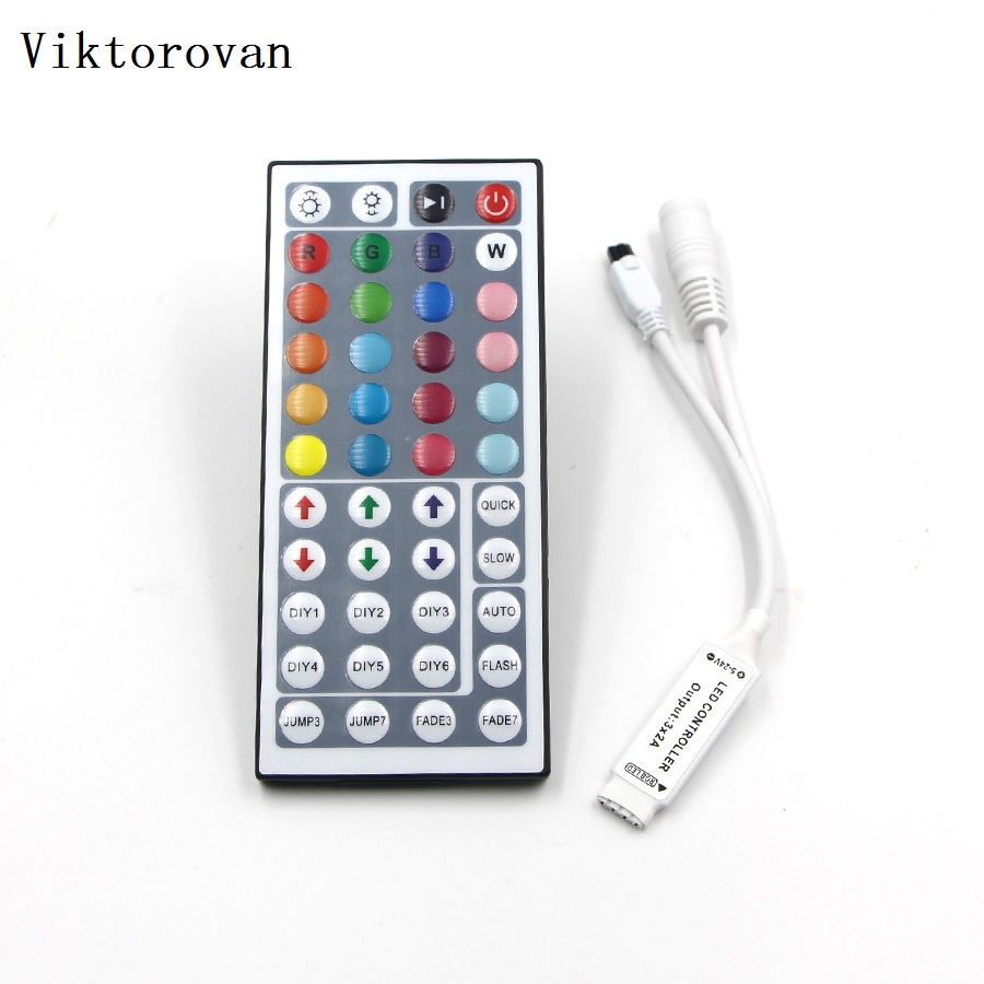 Mini LED Strip IR remote controller DC 5v 24v RGB 44key IR dimmer led remote controller for RGB SMD 5050 3528 LED Strip light tsleen dc 5v 12v 24v mini wifi bluetooth led rgb rgbw controller by smartphone app control for smd 5050 3528 rgb led strip light