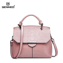 GENMEO Famous Designer Serpentine Flap Grain Genuine Leather Shoulder Bag Cow Leather Handbag Shoulder Strap Tote Bag Bolsa