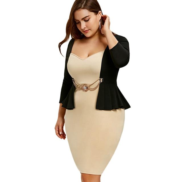 Zaful Plus Size Women Office Formal Dress Sexy Sheath Bodycon Party